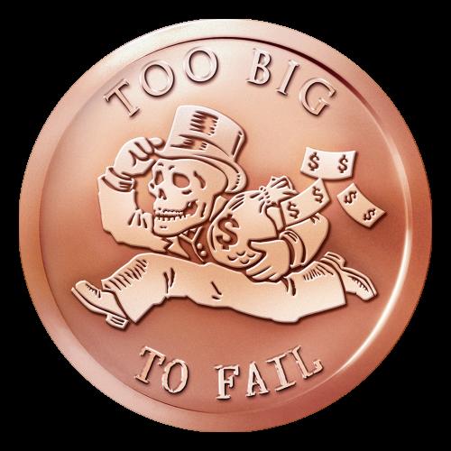 """Ein wegrennender Skelettbanknove (Bankster), mit einem Zylinderhut, einem Sack voll Geld und Dollarscheinen hinter ihm, sowie die Worte """"Too Big to Fail"""" (zu groß um zu Fallen)."""