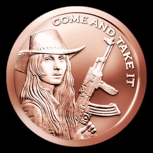"""Das Freiheitsmädchen mit einem Hut und einem Gewehr, sowie den Worten """"Come and Take it"""" (komm und nimm es dir)."""
