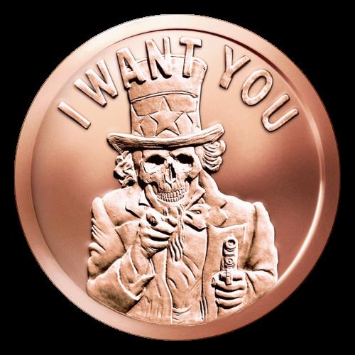 """""""Uncle Sam"""" in einem Anzug und Zylinder, mit einem skelettierten Gesicht und dem historischen Werbespruch """"I Want You"""" (Ich will Dich) und einer Pistole in einer Hand."""