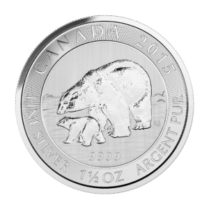 Moneda de Plata Oso Polar Canadiense y Cachorro 2015 de 1.5 oz