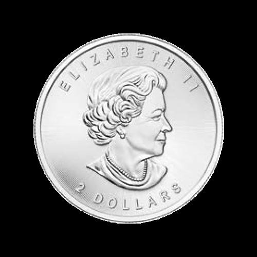 """Ein Weißkopfadler, während er einen Lachs durch die Luft trägt, Äste im Hintergrund und die Worte """"Canada 2015 9999 Fine Silver 1/2 oz Argent Pur 9999"""" (Kanada 2015 9999 Feinsilber 1/2 oz reines Silber 9999) und die Initialen des Künstlers."""