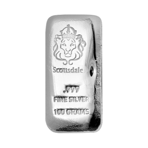 100 gram Scottsdale Mint Cast Silver Bar