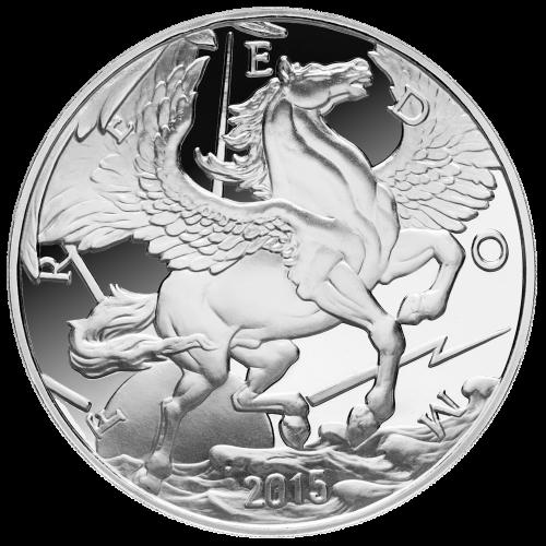 """Ein Pegasus im Flug über den Wolken, mit der Sonne hinter ihm, umgeben von Strahlen, dem Wort """"Freedom"""" (Freiheit) und das Jahr """"2015""""."""