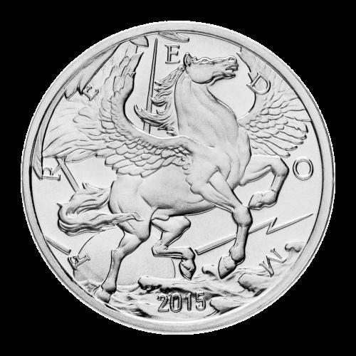 """Ein Pegasus im Flug über den Wolken, mit der Sonne hinter ihm, umgeben von Blitzen und dem Wort """"Freedom"""" (Freiheit), sowie das Jahr """"2015""""."""