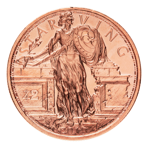 1 oz Zombucks Starving Liberty Copper Round