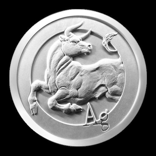 Ein muskulöser Stier aus einem Ring herauskommend, nach hinten schauend und die Buchstabenfolge Ag (chemisches Zeichen für Silber).