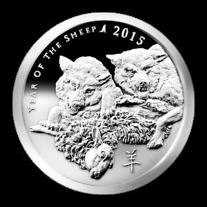 Ronde d'argent de qualité semblable à Belle Epreuve Année du mouton Silver Shield 2015 de 1 once