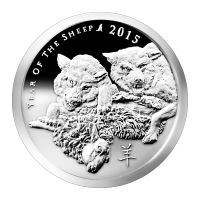 1 oz Silbermedaille - Jahr des Schafes - Silver Shield 2015 Zustand: Spiegelglanz