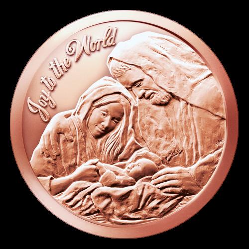 """Jesus, Mara und Josef beim ersten Weihnachten zusammen und die Worte """"Joy to the World"""" (Freue dich Welt), sowie die Initialen des Künstlers."""
