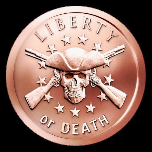 """Ein Totenkopf mit zwei überkreuzliegenden Musketen, mit einem Kreismuster aus dreizehn Sternen im Hintergrund und den Worten """"Liberty or Death"""" (Freiheit oder Tot)."""