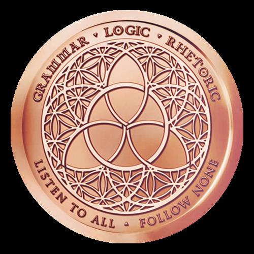 Das Triviumzeichen auf einem Muster einer Blume des Lebens platziert - Grammatik - Dialektik - Rhetorik - Höre jedem zu - Folge niemandem