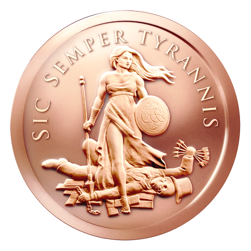 Ein Freiheitsmädchen mit einem Speer und Trivium Faustschild, stehend über einem skelettierten Banknoven (Bankster), der über einem Stapel U.S. Dollar liegt, die, zusammen mit den Ketten in seinen Händen, dazu benutzt werden die Menschheit zu versklaven.