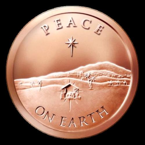 """Eine einfache Krippenszene über den Davidstern gelegt, der Davidstern oben und das Wort """"Peace"""" (Frieden) und die Worte """"On Earth"""" (Auf Erden) unten, die drei Weisen Männer in der Ferne."""