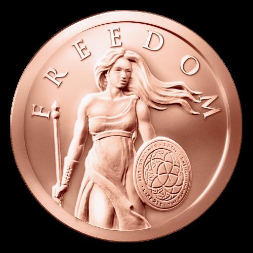 """Stehende Freiheitsdame mit wehendem Haar, einem Triviumschild und dem Wort """"Freedom"""" (Freiheit) über ihr."""