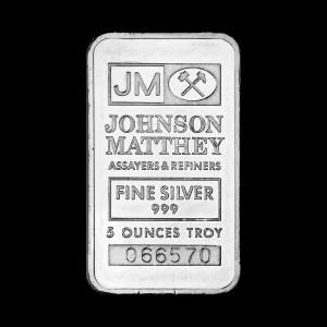 Lingot d'argent Johnson Matthey de 5 onces