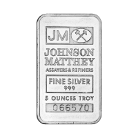 Lingot d'argent Johnson Matthey de 5 onces