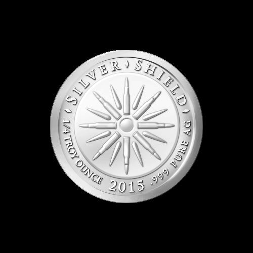 """Das revidierte Silver Shield Logo, welches für fraktionierte Medaillen verwendet wird, eingekreist von den Worten """"Silver Shield 1/2 Troy ounce 2015 .999 Pure AG"""" (Silver Shield 1/2 Troy-oz 2015 .999 Reines SILBER) und 8 Kugeln, sowie 8 Blitzen in der Mit"""