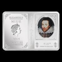 1 oz Silbermünze - 450. Jahrestag Shakespeare - polierte Platte 2014