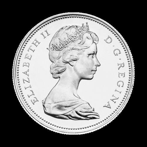 Kanadische Silbermünze mit einem Dollar $1 Nennwert Umlaufmünze 80% reines Silber