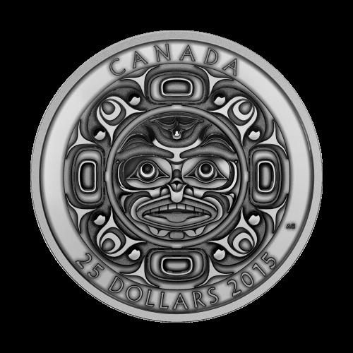 """Eine Darstellung eines singenden Monds, der seine Stimme in alle vier Richtungen streut, mit Sternen die von Punkten dargestellt werden und die Worte """"Canada 25 Dollars 2015"""" (Kanada 25 Dollar 2015). Jede Münze hat eine andere Veredelung."""
