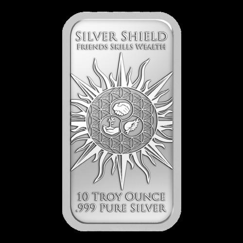 """Drei sich überlappende Kreise die Freunde, Fähigkeiten und Reichtum darstellen, sowie die Worte """"Silver Shield Friends Skills Wealth 10 Troy Ounce .999 Pure Silver"""" (Silver Shield Freunde Fähigkeiten Reichtum 10 Troy-oz .999 reines Silber)."""