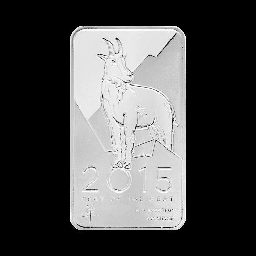 """Eine Ziege mit einer Berglandschaft im Hintergrund und den Worten """"Year of the Goat 10 ounces Troy .999 Silver"""" (Jahr der Ziege 10 Feinunzen .999 Silber), sowie das chinesische Schriftzeichen für Ziege."""