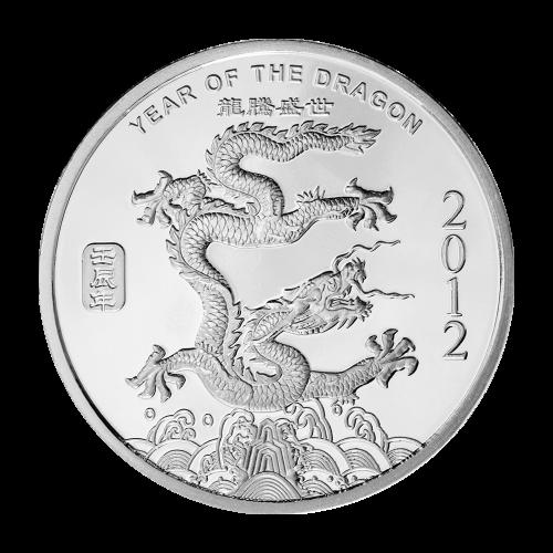 """Ein Drachen über einer felsigen Insel, mit stilvoll geprägten Wellen, die gegen die Insel krachen und die Worte """"Year of the Dragon 2012"""" (Jahr des Drachen 2012) und die chinesischen Schriftzeichen für diese Worte."""