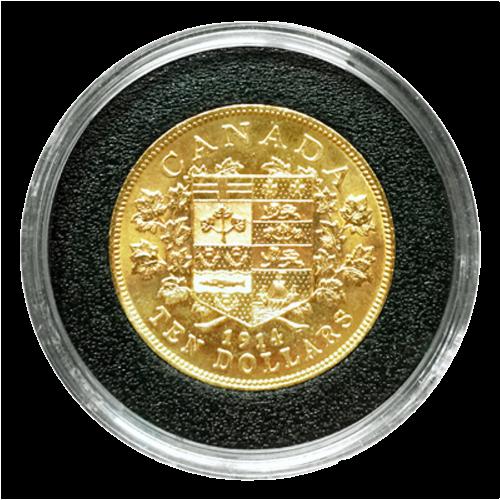 Pièce d'or 1914 de 10 $ de qualité supérieure sélectionnée à la main parmi les pièces de la réserve canadienne