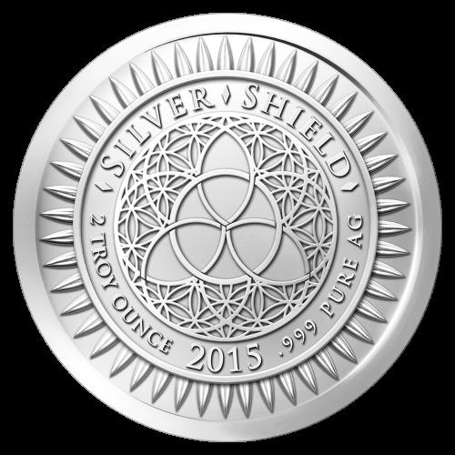 """Das revidierte Silver Shield Logo, mit dem Trivium in der Mitte, eingekreist von den Worten """"Silver Shield 2 Troy ounce 2015 .999 Pure AG"""" (Silver Shield 2 Troy-Unze 2015 .999 Reines SILBER), umgeben von 47 Kugeln."""