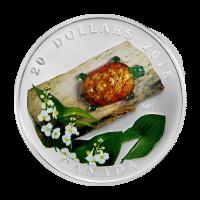 1 oz Silbermedaille - venezianische Glasschildkröte mit breitblättriger Pfeilkraut Blume - 2015 limitiert