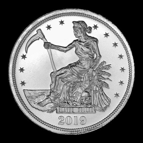 """Die Freiheitsdame auf einem Thron von Skeletten sitzend und die Worte """"Slayed Dollar Z Fifty 2019"""" (abgeschlachteter Dollar Z Fünfzig 2019)."""