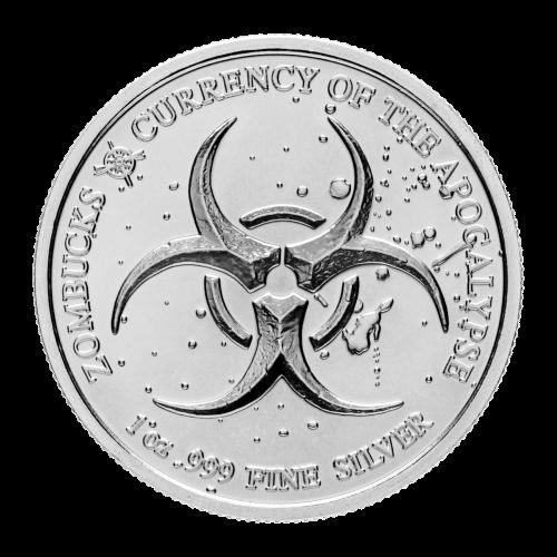 Biogefahr Symbol - Zombucks - 1 oz .999 Feinsilber - Die Währung der Apokalypse - Provident Metals Kompass Logo