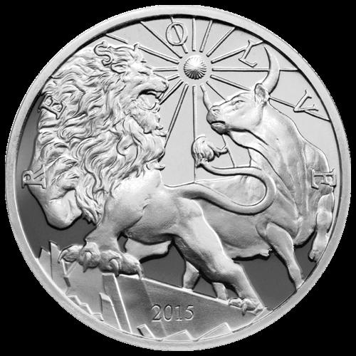 """Ein Löwe mit seiner erhobenen Vorderpfote, auf einen Stier zurückblickend, die Sonne über ihm scheinend und die Worte """"Resolve 2015"""" (2015 aufklären)."""