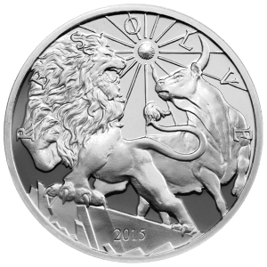 10 oz 2015 Modern Ancients Leeuw en Stier Zilveren Proof Plak