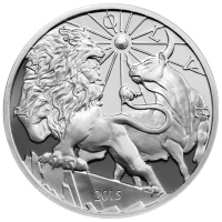 Ronda de Plata Proof Modern Ancients Lion and Bull (León y Toro Antiguos y Modernos) 2015 de 10 oz