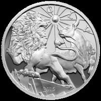 10 oz Silbermedaille - moderne Antike Löwe und Stier - 2015 limitiert