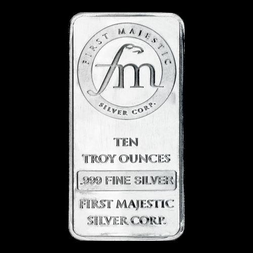 "Das First Majestic Logo und die Worte ""First Majestic Silver Corp. 10 Troy Ounces .999 Fine Silver"" (First Majestic Silver Corp. 10 Troy-oz .999 Feinsilber)."