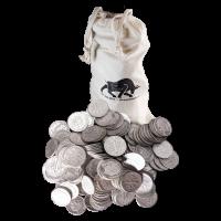 $100 Silbermünzen in einem Beutel, in Kanada im Umlauf 80% reines Silber