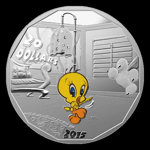 """Tweety, Sylvester Cat, Bugs Bunny und Daffy Duck (auf ihren eigenen Münzen), in Farbe und die Worte """"20 Dollars 2015 © WB""""."""