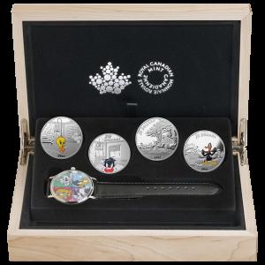 Satz mit 4 x 1 oz Silbermünzen - Looney Tunes™ Armbanduhr - 2015 Polierte Platte