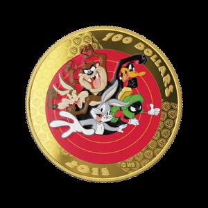 2015 Looney Tunes™ Bugs Bunny und Freunde Taschenuhr und 14 Karat Goldmünze