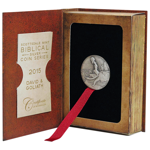 2 oz Silbermünze - biblische Serie | David und Goliat - 2015