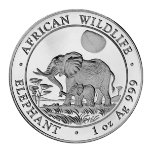 Pièce d'argent Éléphant d'Afrique somalien 2011 de 1 once