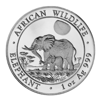 Moneda de Plata Somalí Elefante Africano 2011 de 1 oz