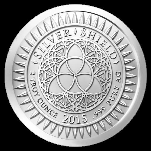 """Das Silver Shield Logo mit dem Trivium in der Mitte, eingekreist von den Worten """"Silver Shield 2 Troy Ounce 2015 .999 Pure AG"""" (Silver Shield 2 Troy-oz 2015 .999 reines Silber), umgeben von 47 Kugeln."""