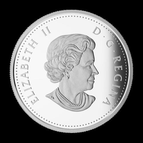 """Superman™, in Farbe, der einen Panzer mit einer Hand über seinen Kopf hält und die Worte """"Canada 20 Dollars 2015"""" (Kanada 20 Dollar 2015)."""