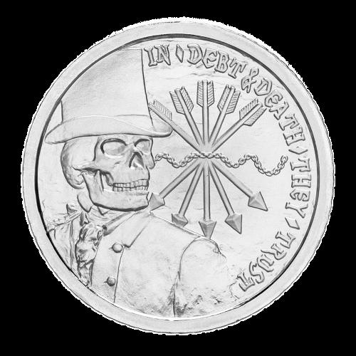 """Ein Skelettbankier mit einem Zylinderhut, die Worte """"In Debt and Death They Trust"""" (In Schulden und Tod vertrauen sie), die Ketten der Schulden und die fünf Pfeile des Wappens der Rothschild Familie."""