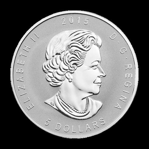 """Ein Ahornblatt mit der Sonderprägung des E=mc2 Zeichens und die Worte """"Canada 9999 Fine Silver 1 oz Argent Pur 9999"""" (Kanada 9999 Feinsilber 1 oz reines Silber 9999)."""