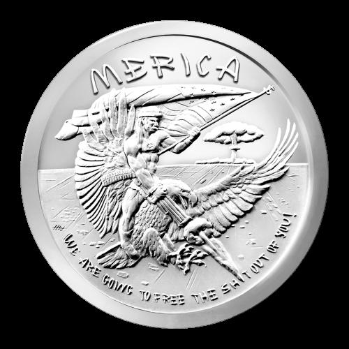 """Ein Mann der auf einem Adler reitet, mit einer Flagge in der Hand und einem Gewehr schießend, eine Pilzwolke im Hintergrund, sowie die Worte """"Merica We are going to free the sh*t out of you!"""""""