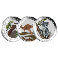 Conjunto de 3 Monedas de Plata Proof Australian Outback Coloured (Campo despoblado de Australia) 2015 1/2 oz